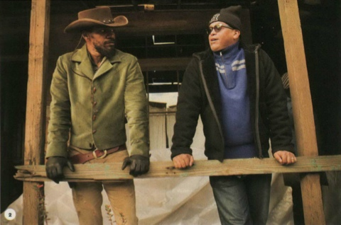 Jamie Foxx and Reginald Hudlin on the set of Django Unchained