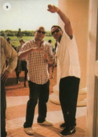 Reginald Hudlin and Q-Tip on set of Django Unchained