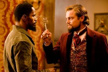 "Jamie Foxx, left, and Leonardo DiCaprio in ""Django Unchained."""