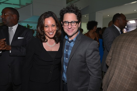 Ron Gilyard behind Kamala Harris and JJ Abrams