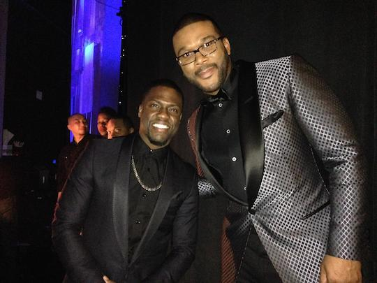 Kevin Hart and Tyler Perry backstage at NAACP Image Awards