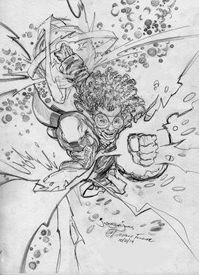 Jason Scot Jones sketch of Static Shock