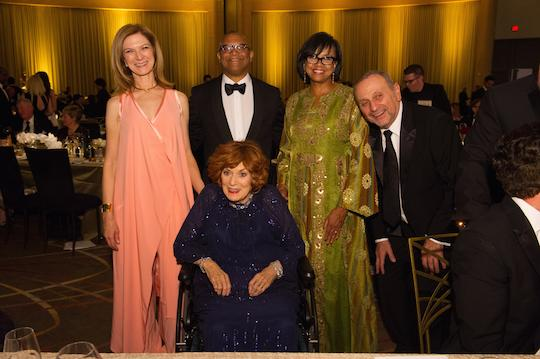 Reggie with AMPAS CEO Dawn Hudson and President Cheryl Boone Isaacs (with her husband Stanley), with honoree Maureen O'Hara (seated)