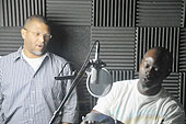 Me in the recording booth with Djimon Honsou