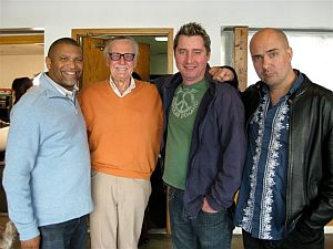 Reginald, Stan Lee, producer Keith Fay and director Mark Brooks