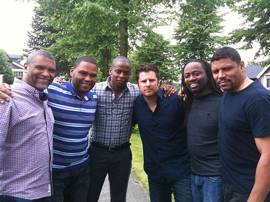 Reginald Hudlin, Anthony Anderson, Dule Hill, James Roday, Saladin Patterson, Stoney Jackson Jr on the set of PSYCH