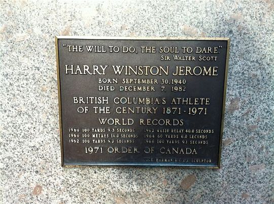 Statue plaque: Harry Winston Jerome