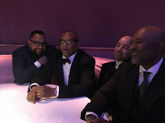 Nelson George With CAA agent Cameron Mitchell, Oscars producer Reggie Hudlin, Common's manager Derek Dudley at the Governor's Ball
