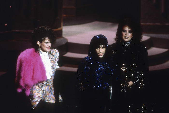 "Prince, along with Wendy and Lisa, accept the Oscar for Best Original Song for ""Purple Rain"" in 1985"