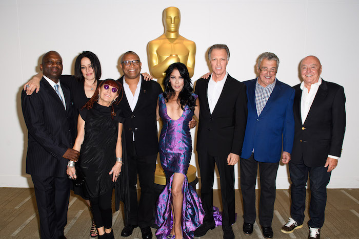 "The Academy presented a screening of ""Purple Rain"" on Wednesday, August 17, 2016. Pictured (left to right): Jerome Benton, Jill Jones, Marie France, Reginald Hudlin, Apollonia Kotero, Albert Magnoli, Robert Cavallo and Joe Ruffalo. ©AMPAS"