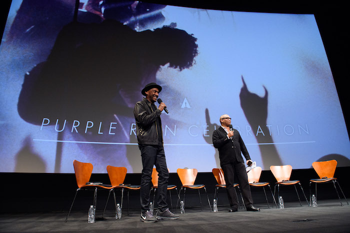 "Moderators Marcus Miller (left) and Reginald Hudlin prior to a screening of ""Purple Rain"" presented by the Academy of Motion Picture Arts and Sciences, on Wednesday, August 17, 2016."