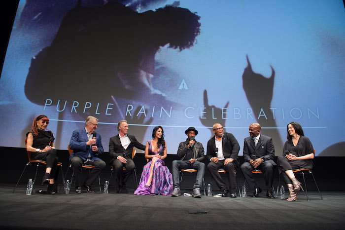"The Academy presented a screening of ""Purple Rain"" on Wednesday, August 17, 2016. Pictured (left to right): Marie France, Robert Cavallo, Albert Magnoli, Apollonia Kotero, Marcus Miller, Reginald Hudlin, Jerome Benton and Jill Jones."