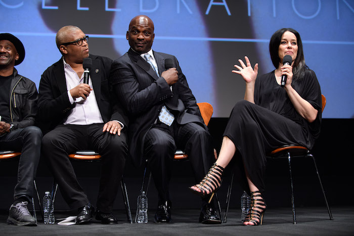 "Academy governor/moderator Reginald Hudlin (left), actor/musician Jerome Benton (center) and actress/musician Jill Jones prior to a screening of ""Purple Rain"" presented by the Academy of Motion Picture Arts and Sciences, on Wednesday, August 17, 2016. ©AMPAS"