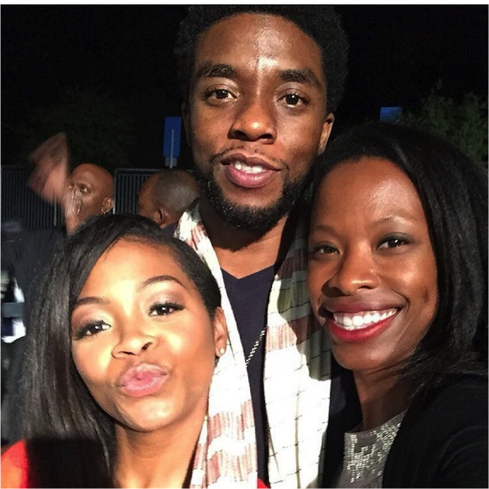 I'm so proud of this #BlackPanther @chadwickboseman! Hard work pays off👊🏾 Excellent running into you everywhere this week @only1karimah! Lol #Greene #ActorsdoingitWell #TheHollywoodBowl