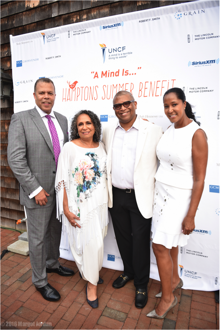 Here I am with my wife Chrisette and (L-R) Wall Street wizard Derek Jones and media mogul Cathy Hughes, the other two honorees at the 2016 United Negro College Fund Benefit in the Hamptons.