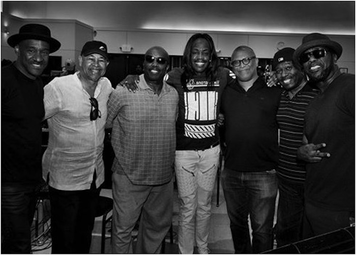 Some of the stars from the Hollywood Bowl Black Movie Music concert: bass master Marcus Miller, Ralph Johnson of Earth Wind & Fire, Paul Anthony of Full Force,Verdine White of Earth Wind & Fire Reggie Hudlin, Bowlegged Lou & B-Fine of Full Force.