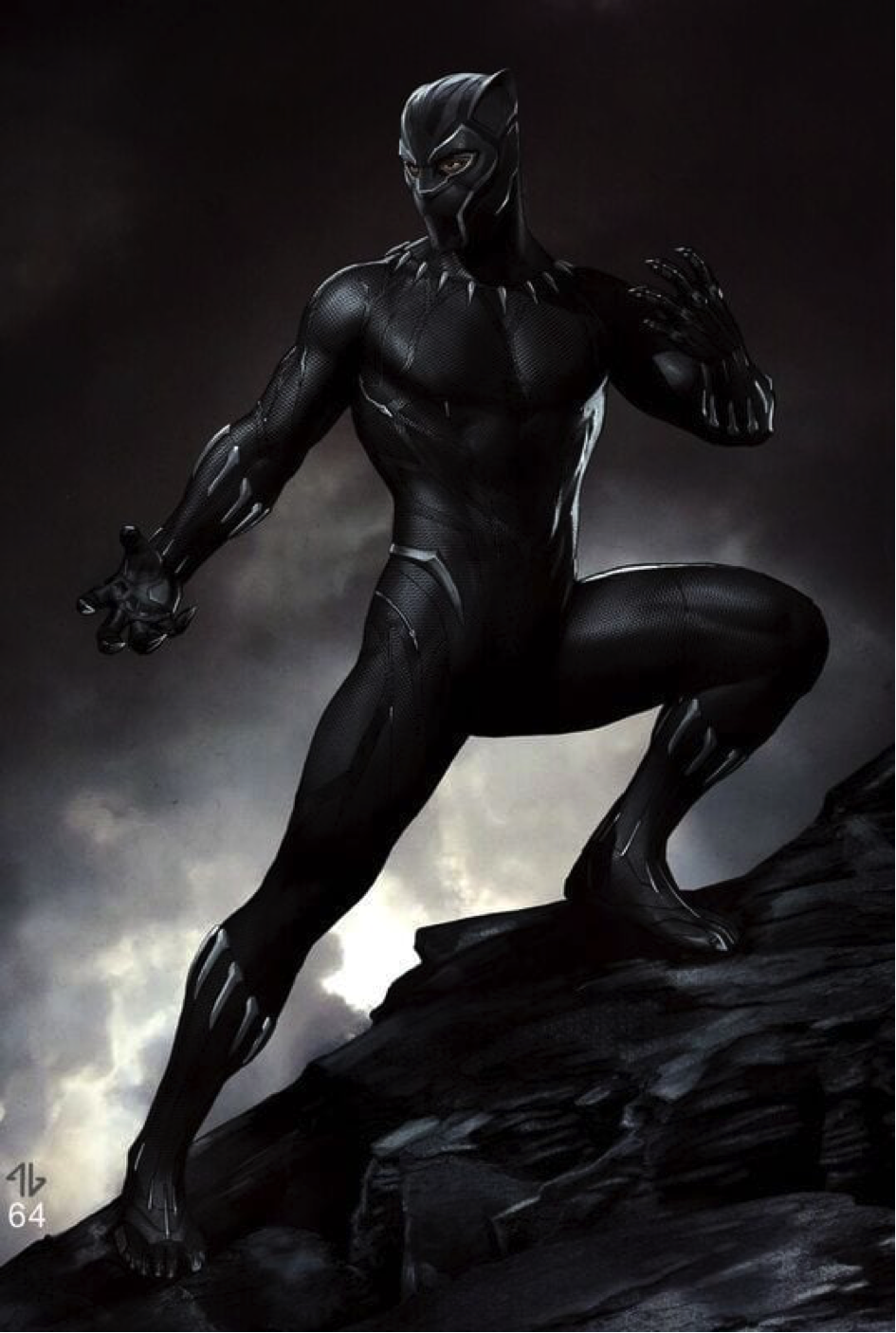 "Disney/Marvel's concept art for the costume design of ""The Black Panther."""